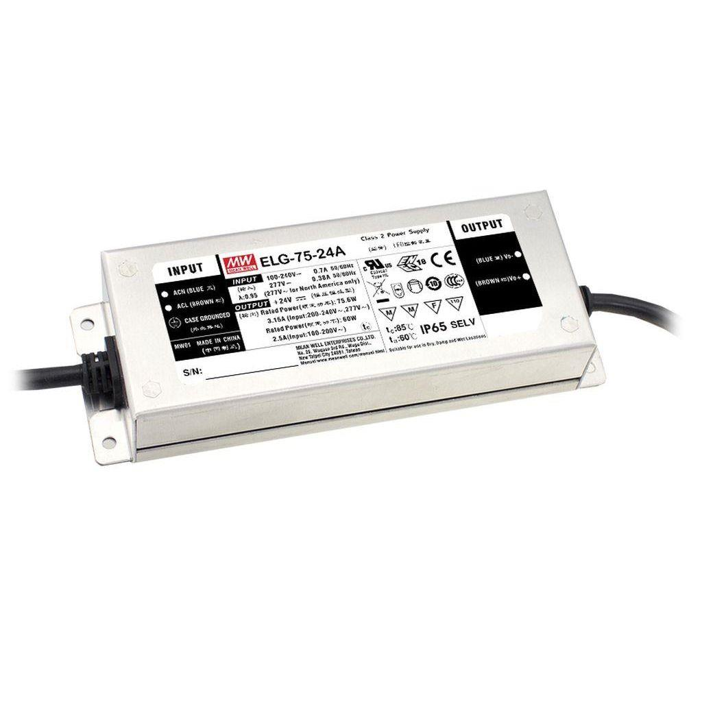 Mean Well ELG-75-12B AC/DC C.V. C.C. Box Type - Enclosed 12V 5A Single output LED Driver