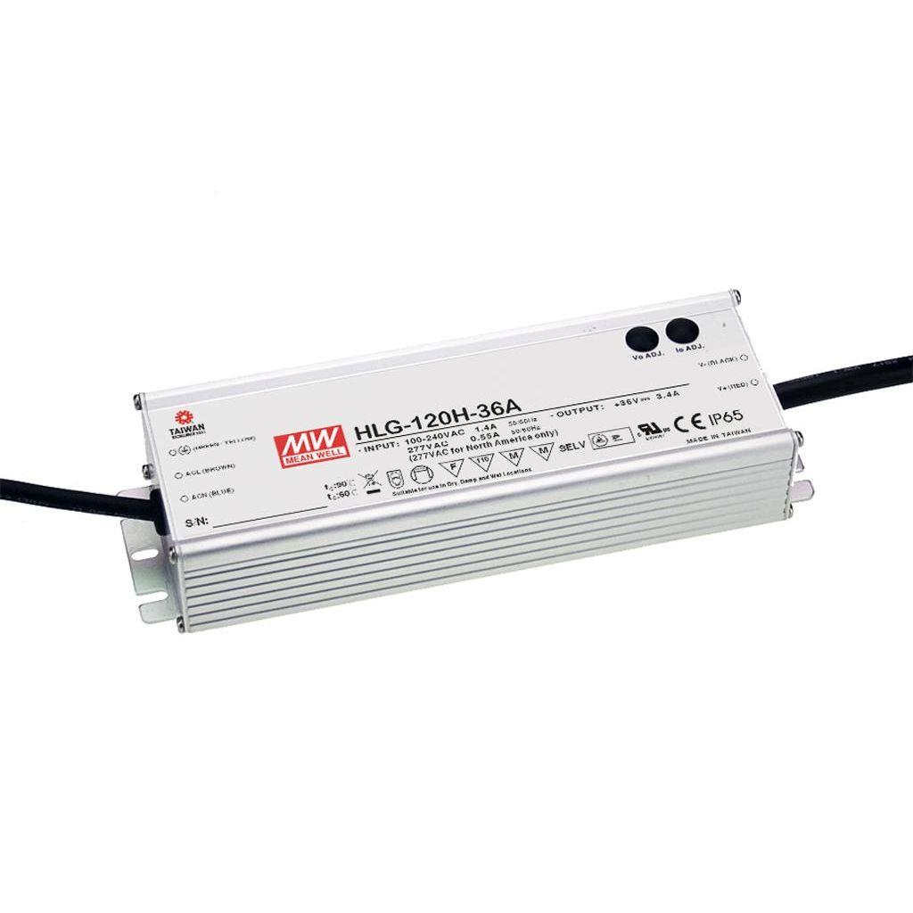 Mean Well HLG-120H-12A AC/DC C.V. C.C. Box Type - Enclosed 12V 10A Single output LED driver