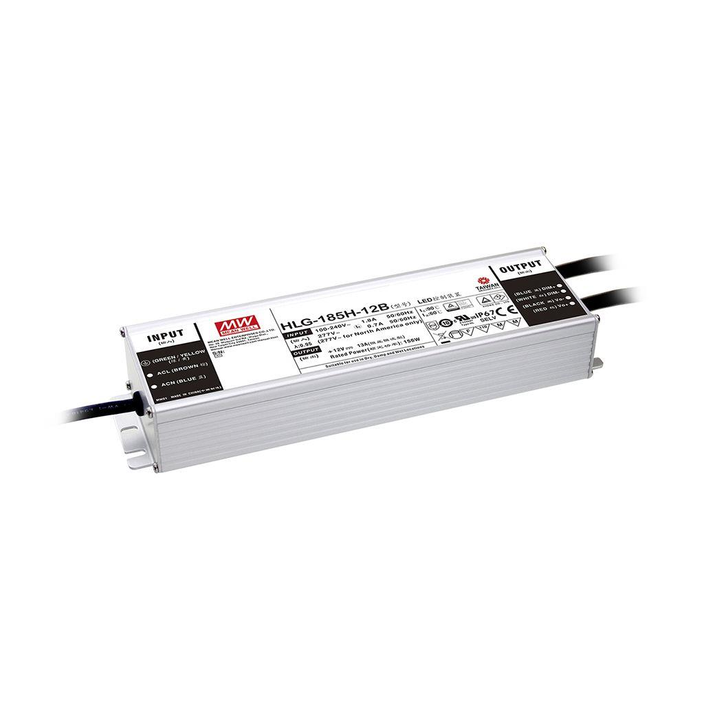 Mean Well HLG-185H-24AB AC/DC Box Type - Enclosed 24V 7.8A Single output LED driver