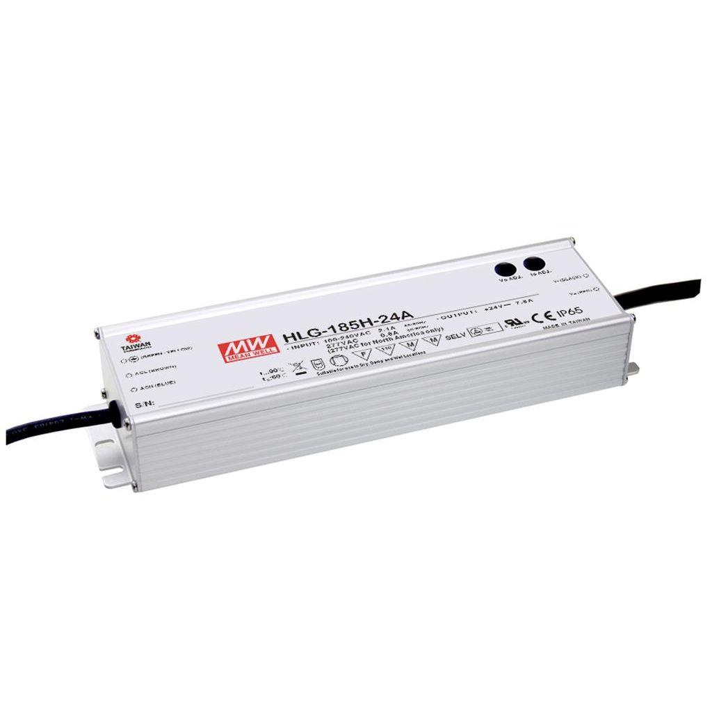 Mean Well HLG-185H-30 AC/DC C.V. C.C.  Box Type - Enclosed 30V 6.2A Single output LED driver
