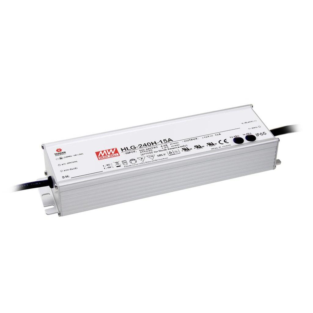 Mean Well HLG-240H-15 AC/DC C.V. C.C.  Box Type - Enclosed 15V 15A Single output LED driver