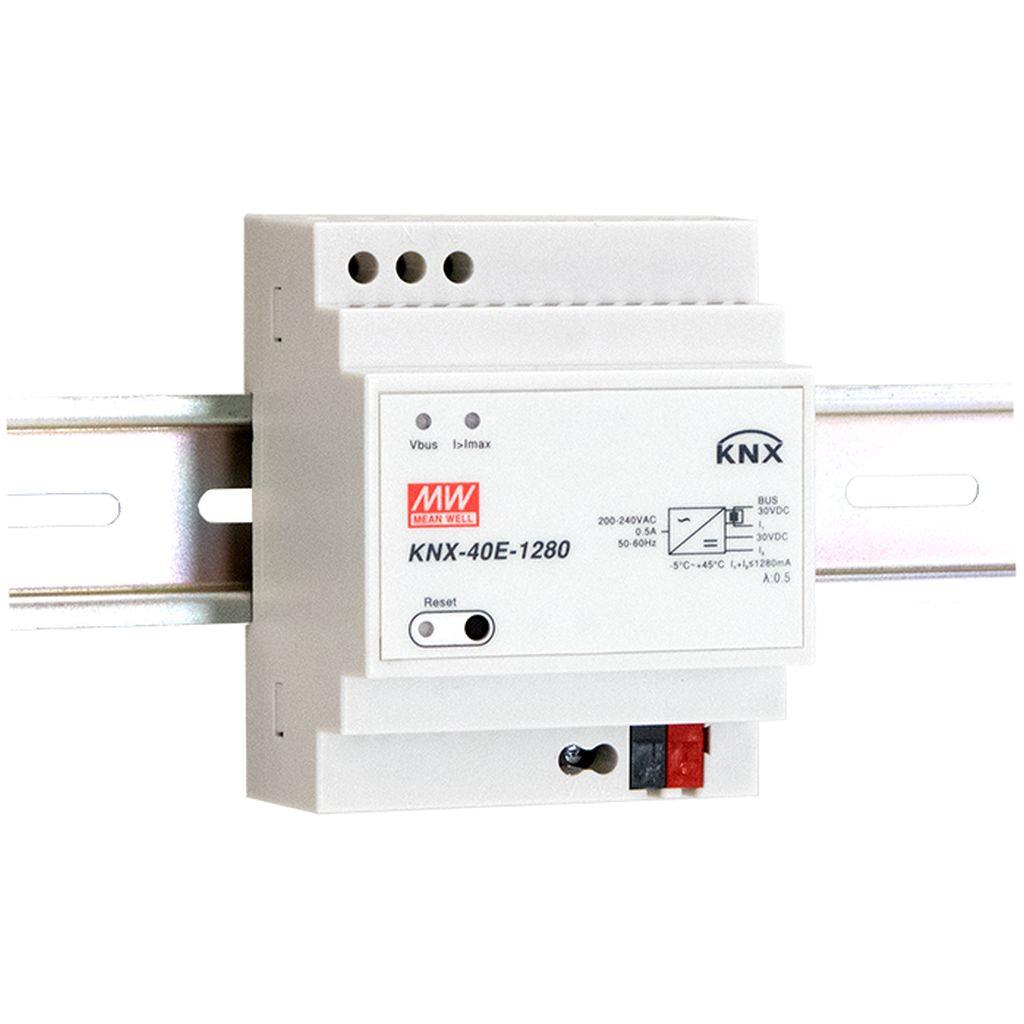 Mean Well KNX-40E-1280 AC-DC KNX EIB DIN rail power supply with integrated choke; Output 30Vdc at 1.28A; basic function