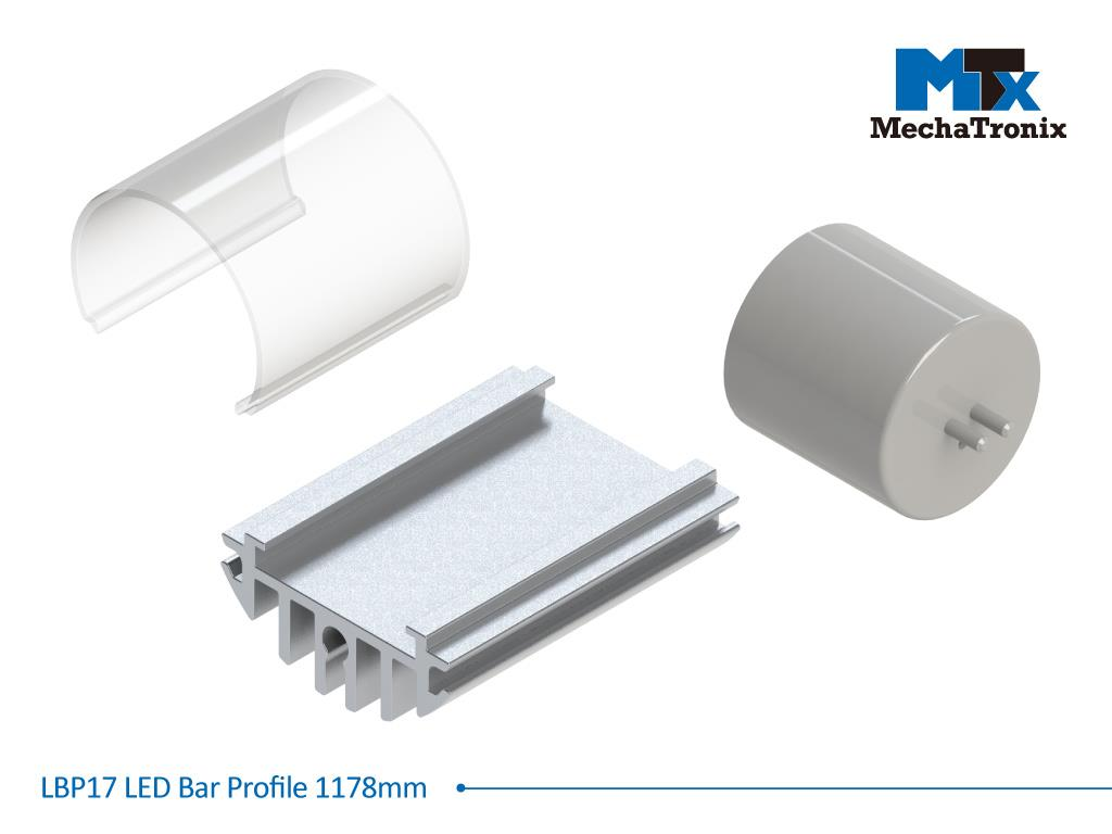 Mechatronix LBP17EXT-1178 LED bar profile for LED Strip or PCB in maximum W16mmxH1.0mm; Extrusion profile L1178mm