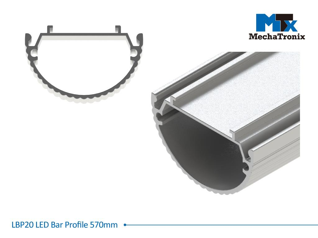 Mechatronix LBP20EXT-570 LED bar profile for LED Strip or PCB in maximum W16mmxH1.0mm; Extrusion profile L570mm