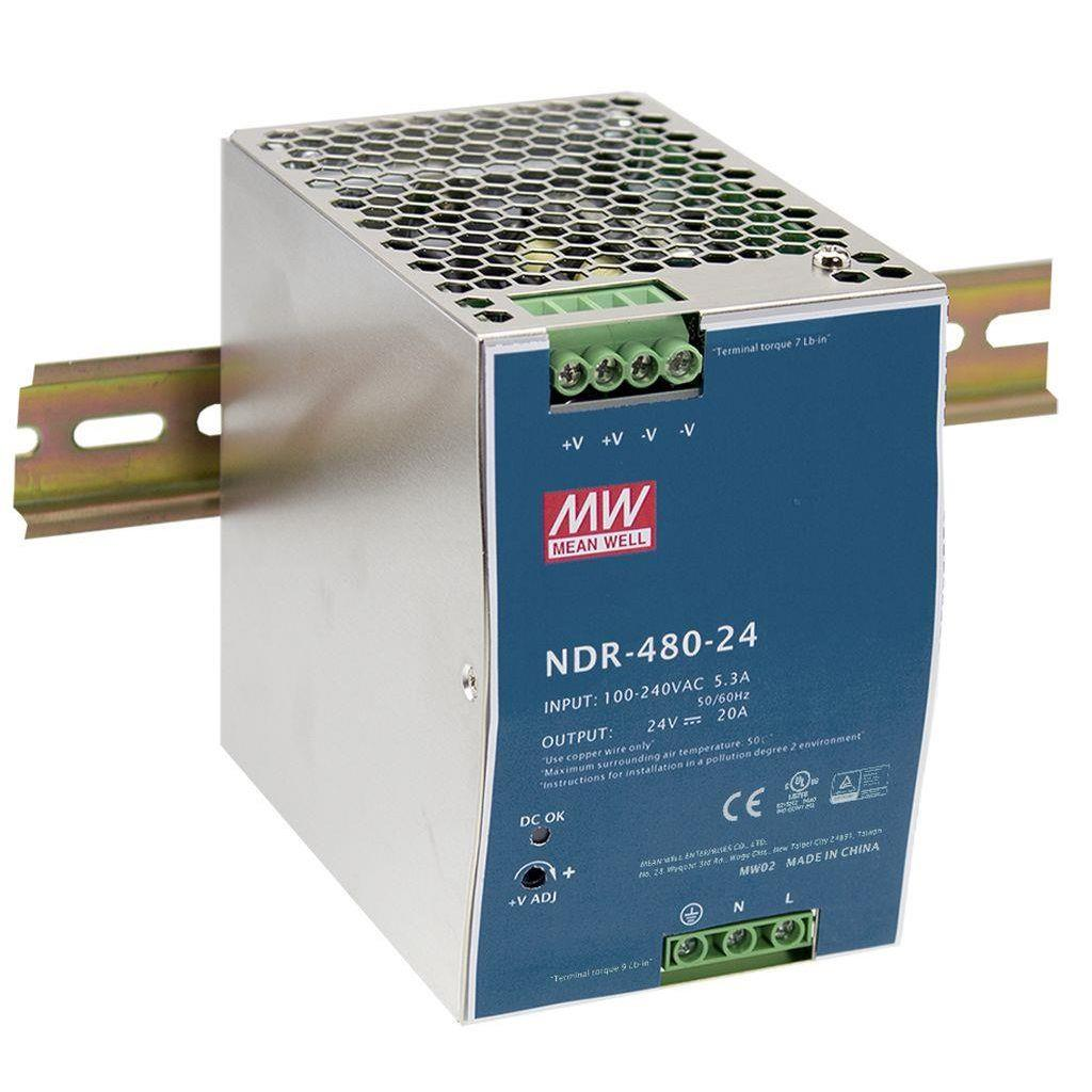 Mean Well NDR-480-24 AC/DC DIN Rail 24V 20A Power Supply