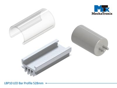 Mechatronix LBP10COV-528 LED bar profile for LED Strip or PCB in maximum W10mmxH1.6mm; Transparent cover L528.6mm